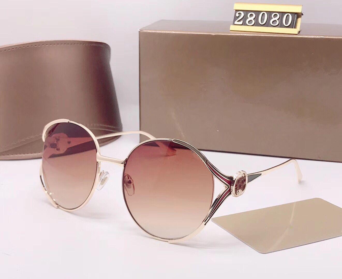 DFGDRG Marque Gold Classic Quality Sunglasses Designer Luxe-High Lentilles Femme Verres de verre Lunettes Mens Vert Pilot Sun Metal Brown BDOG