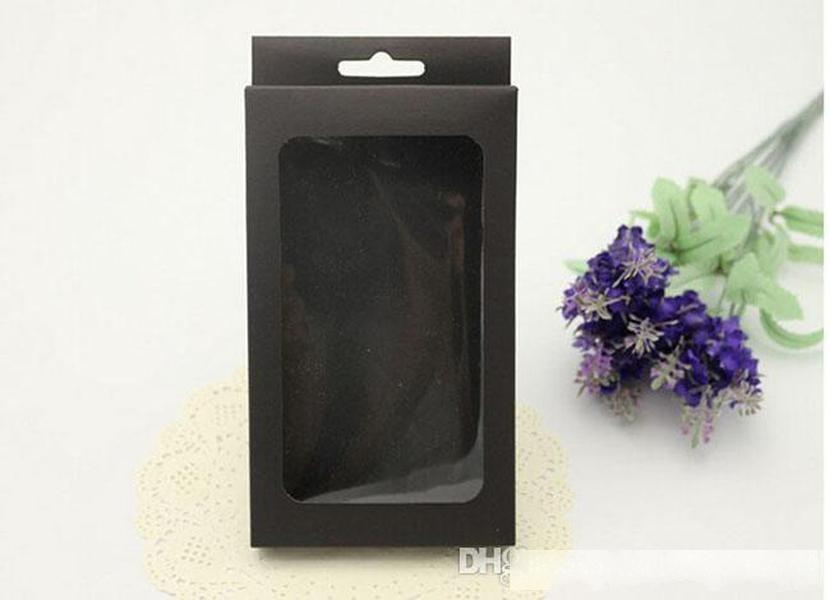 Universal Simple Black No Print Kraft Retail Package Boîte Emballage pour iPhone 5S 6S Miroir Case en cuir Couverture arrière