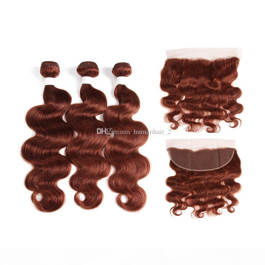 Human Cheveux # 33 Brown Auburn Body Wave Dentelle Fermeture frontale avec des paquets offres Copper rouge Vierge Malaisie Extension de cheveux 4pcs lot