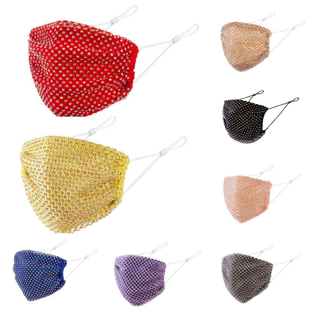 Rhinestone DHL envío de la red de la cuadrícula Crystal Diamond Mask Mascarillas de la fiesta de las señoras a prueba de polvo Antifógrago transpirable Reutilizable Mascarillas Cara Ki