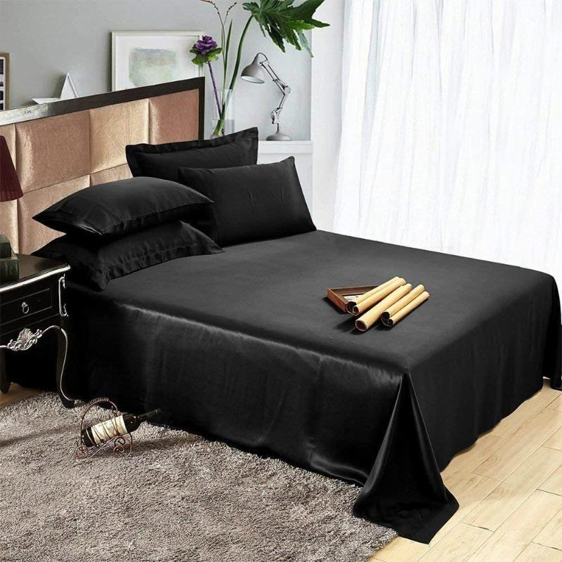 19 MOME PURE MULBERRY 100% SILK 4PCS Встроенные и плоские глубокие листовые наволочки Установить постельное белье