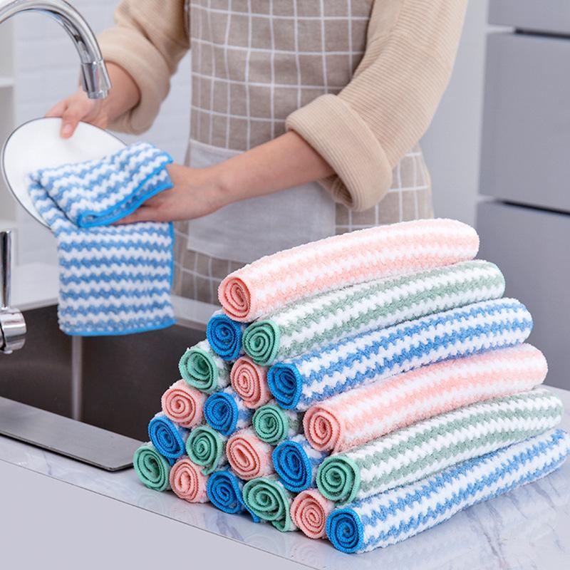كورال المخملية شريطية مناشف المطبخ أدوات تنظيف المنزل متعدد الألوان طبق أطباق الطاولة غسل الملحقات منشفة المياه مص 1 48HR2 G2