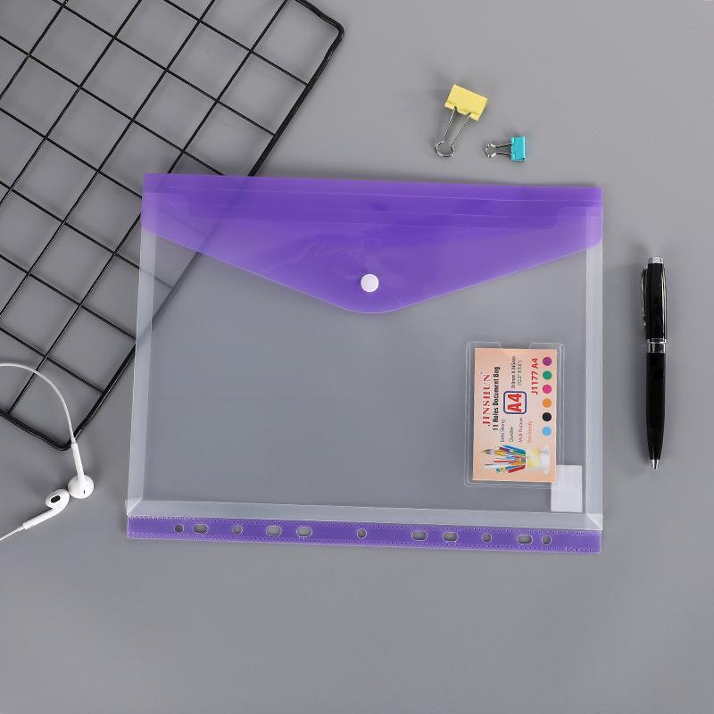 A4 PP 11 Hole Binder Loose-Leaf Notebook Bag Waterproof School Business Office File Folder Bag Translucent Document Storage Pouch HHA3244