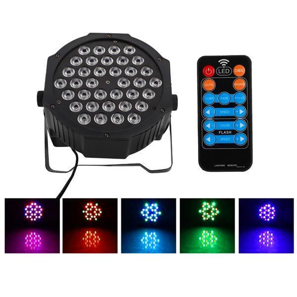 Новый дизайн 36W 36-LED RGB Remote / Auto / Sound Control DMX512 Высокая яркости Сцена с высокой яркостью Освещение мини DJ Bar Party Top Quality Stage Lamp