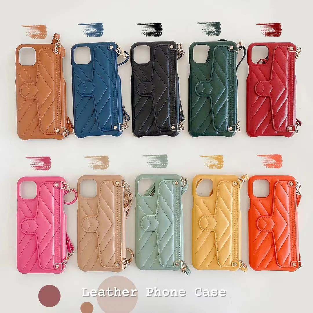 أزياء جلدية غطاء الجلد لآيفون 11 11PRO X XS ماكس XR 8 7 زائد مظروف فتحة بطاقة حامل الهاتف المحمول غطاء 7 زائد 8plus + سلسلة