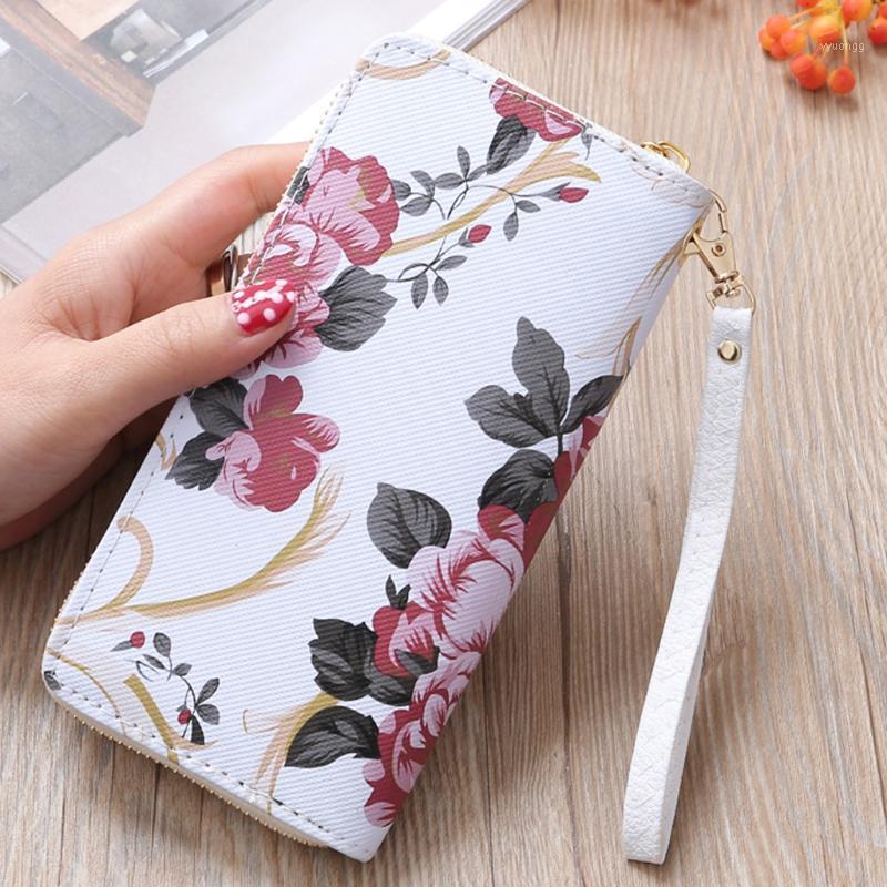 Frauen Mode Leder Brieftasche Trend Solide Farbe Lange Rose Brieftasche Muster Womens Card für S # Xes1