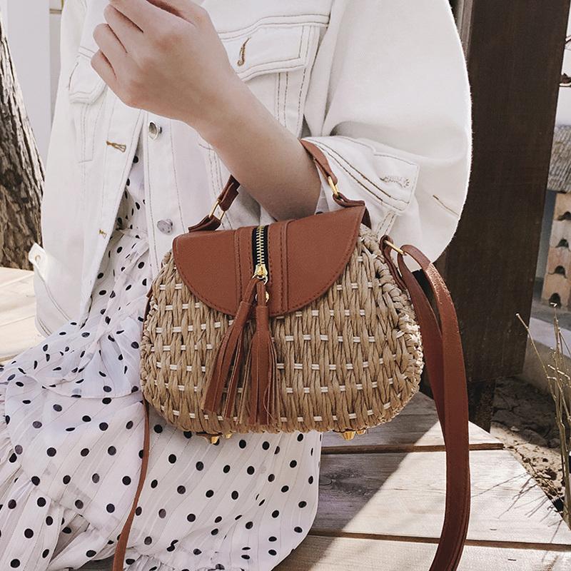 Дизайнер Handmade Tassele соломенная пляжная сумка седло вязание Boho Tote маленький кошелек бамбука дешевые летние сумки ротанга 2019