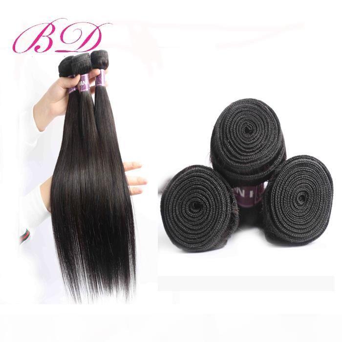 Vierge brésilienne Stright Cheveux 4 Lot Bundles Sans tourisés Extensions de cheveux humains 8-26 pouces pour Womem Human Cheveux Tissu Prix usine