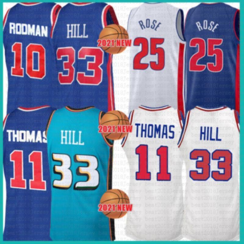 2021 New Grant 33 Colina Jersey Dennis 10 Rodman Mens Isiah 11 Thomas Malha Retro Derrick 25 Rose Barato Azul