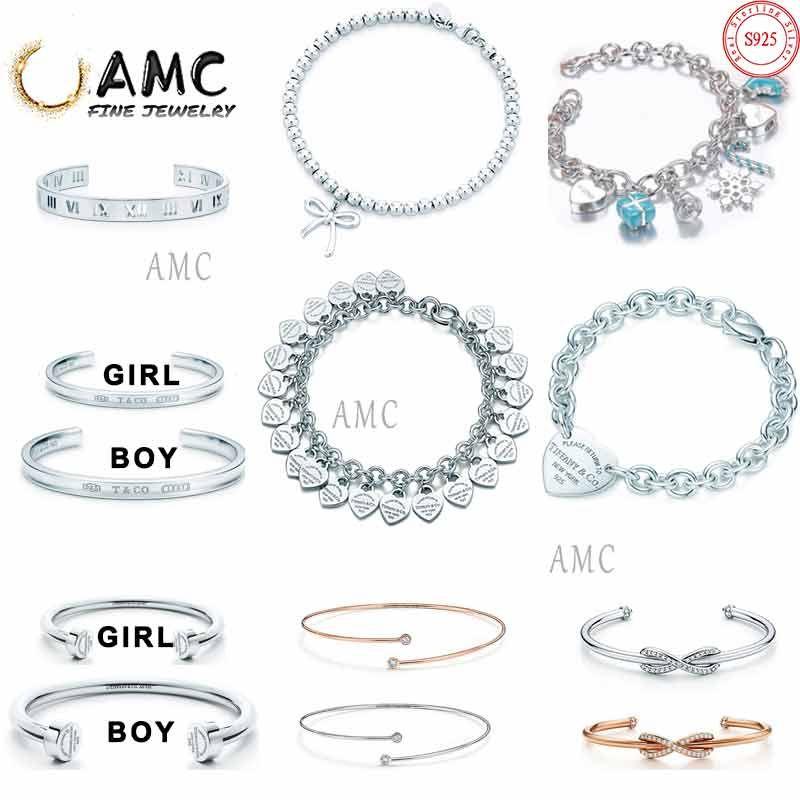 925 Sterling Silver Classic Christmas Bracelet for Girls Open Bracelet Gold Series Women's Couple Bracelet with Diamond Coil Direct Sales fr