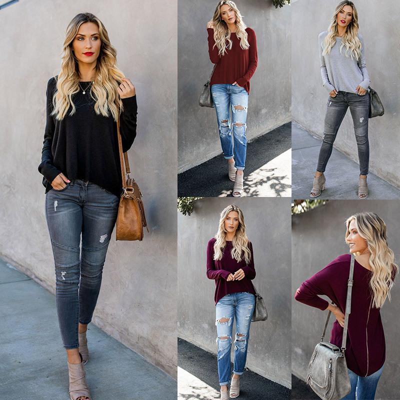 New arrival Women's clothing Long Sleeve Knit Sweater Crew Neck Solid Color Pullover female Tops casual back zipper
