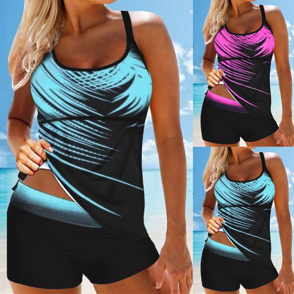 Bikini 2021 Donne Plus Size Stampa Tankini Swimjupmsuit Costume da bagno Beachwear Costumi da bagno imbottiti Maillot de Bain Femme