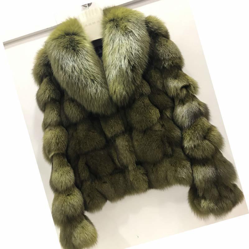 Ethel Anderson Lüks Hakiki Gerçek Jacketscoats Bayanlar için Yaka ile Kısa Tilki Giyim Kürk Konfeksiyon T200104