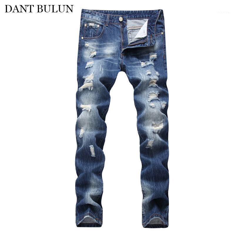 Uomini angosciati jeans mens casual cotone skinny fit uomo denim jeans hombre biker jean pantaloni strappati hip hop blu pantaloni1