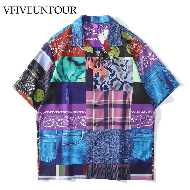 Camicie casual da uomo VFIVE Uomo Uomini Camisa Hawaiana Hombre Hombre Magliette a manica corta Camicia manica corta Digita Stampa Adatto allentato Hawaiian