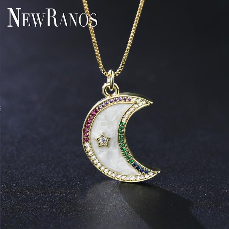 Newranos Crescent Moon Colar multicolor Zircônia moon shell Natural pingente colar para mulheres moda jóias njd003564