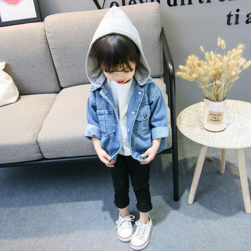 Chaqueta con capucha para niñas Chaqueta de mezclilla Ropa para niños Niños Moda Bolsillos Abrigo Baby Girl Outfits1