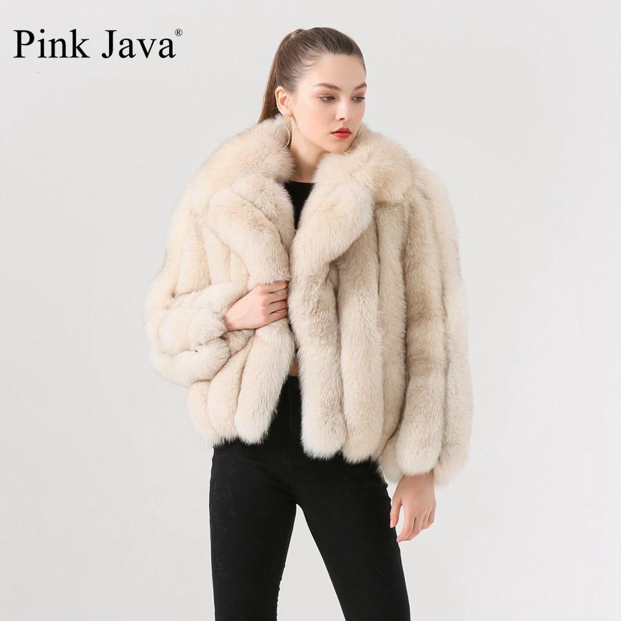 Pink Java QC19022 Nueva Llegada Venta caliente Fox Real Four Piel Abrigo de piel genuina Chaqueta de piel de mujer Abrigo de invierno Piel gruesa Cuero real 201103
