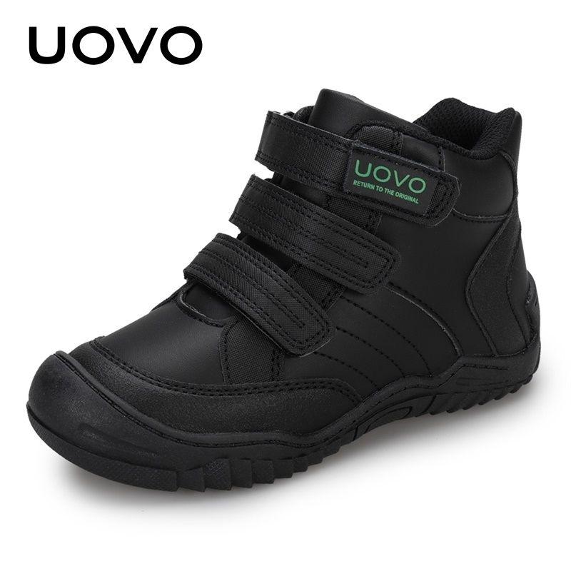 Уово Новое прибытие школьные обувь средние теленки мальчики обувь мода детей спортивная обувь открытый детей повседневные кроссовки для мальчиков размером # 26-36 201130