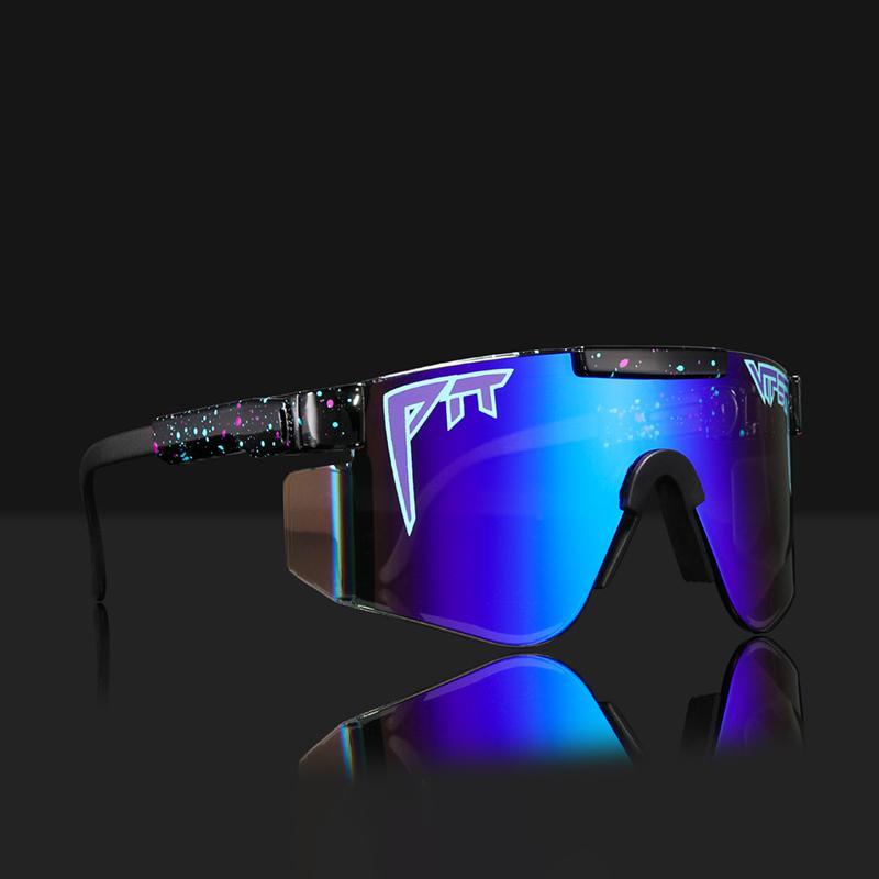 Pit Viper Original Oversize Oversized Sunless Sunglasses Uomo UV400 Mezza cornice Sport Sport Big Big Mirror sfumature con scatola