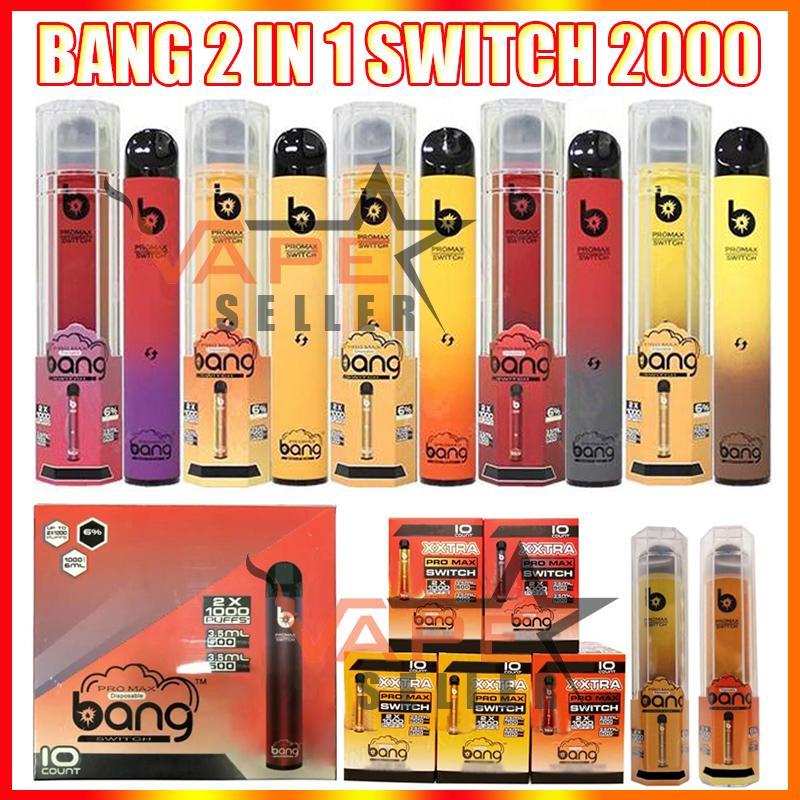 Bang Pro Max Switch Vape desechable Pen 2 en 1 E Dispositivo de cigarrillo 7ML PODS 2000 Puffs XXTRA Vapor Kit vs Puff doble Ezzy Super
