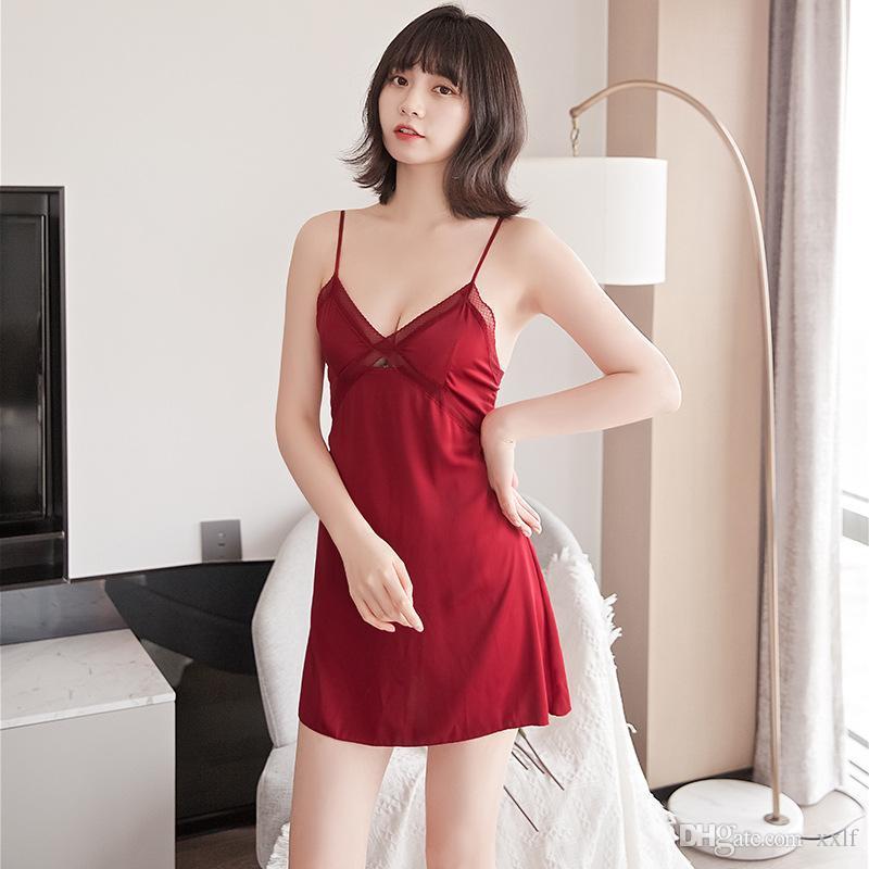 Damen Sexy Seiden Satin Nacht Kleid Sleeveless Nidhies V-Ausschnitt Nachthemd Nachthemd Spitze Nachtwäsche Nachtwäsche Für Frauen