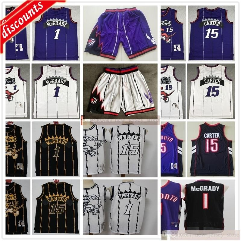 Retro vintage basquete 15 Vince 1 tracy carter mcgrady jerseys barato roxo branco roxo dois cor preto camo jerseys shorts homem crianças juventude