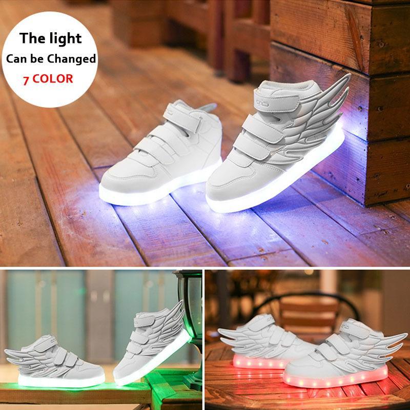 Tamaño 25-37 Zapatillas de deporte brillantes para niños Zapatillas de deporte luminosas para niños para niñas LED zapatillas de deporte con suela luminosa zapatos iluminados 201203