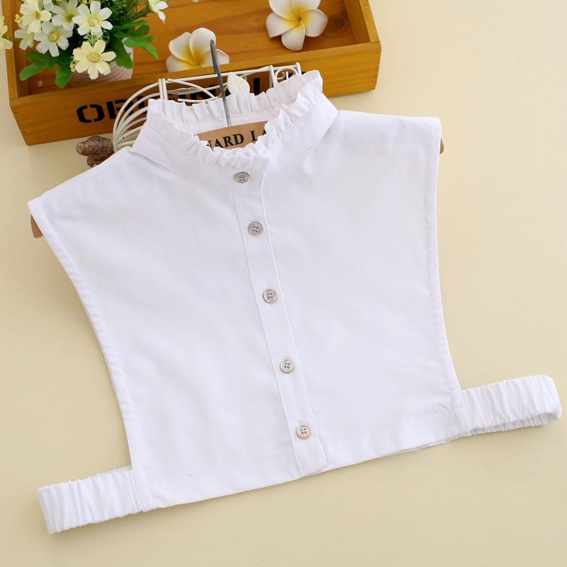Badinka 2020 Novo Branco Ruffled Colar Falso Falso Destacável Camisa Colares Para As Mulheres Gravatas Faux Col Acessórios W1224