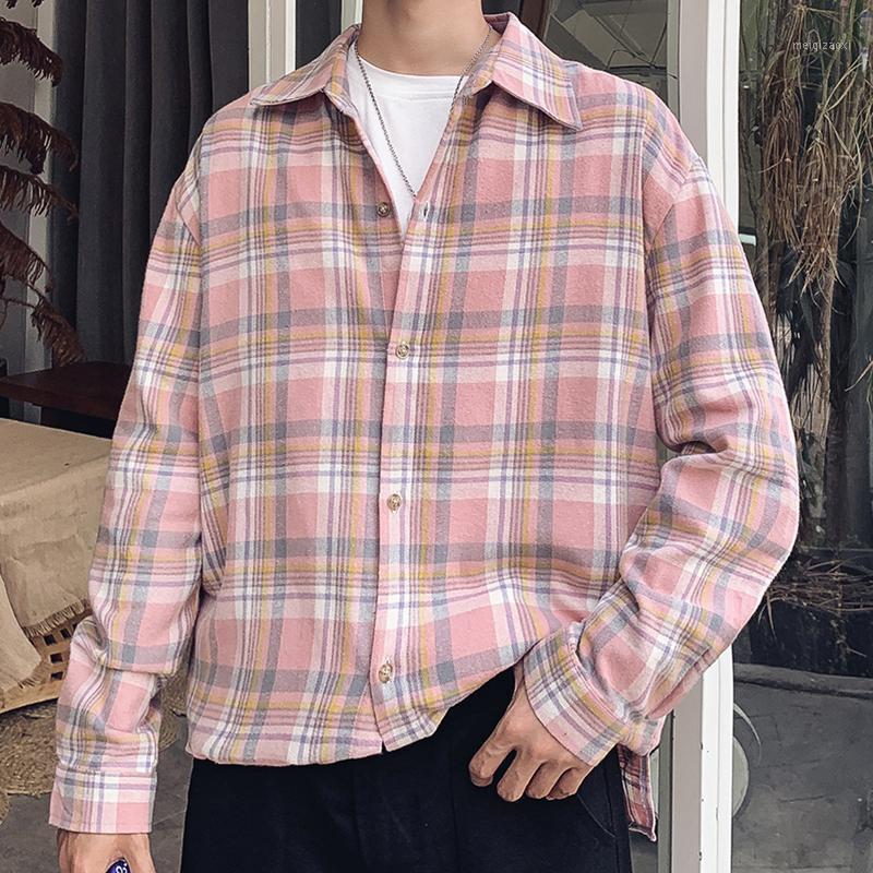 Мужские повседневные рубашки Мужская длинная рукава хлопчатобумажная клетчатка Фланелевая мужская одежда 2021 Весенняя корейская мода, негабаритные XXXL-стрит одежды CS561