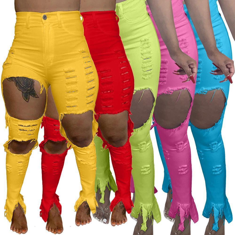 Kadın Kot Kırmızı Ve Sarı Uzun Yırtık Pantolon Ince Sıska Fit Artı Boyutu Delik Kot Kişiselleştirilmiş Moda Kadın Kot Artı Boyutu S-4XL