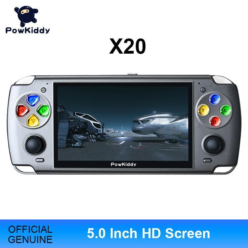 POWKIDDY X20 Linux 5.0-дюймовый IPS экран RK3128 ретро видео портативная игровая консоль встроенной 3600 игр PS1 Games детские подарки