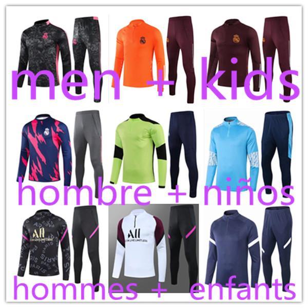 2021 Men + kids jogging football training tracksuit kits 21 boys real madrid survetement foot soccer chandal futbol chándal Sportswear