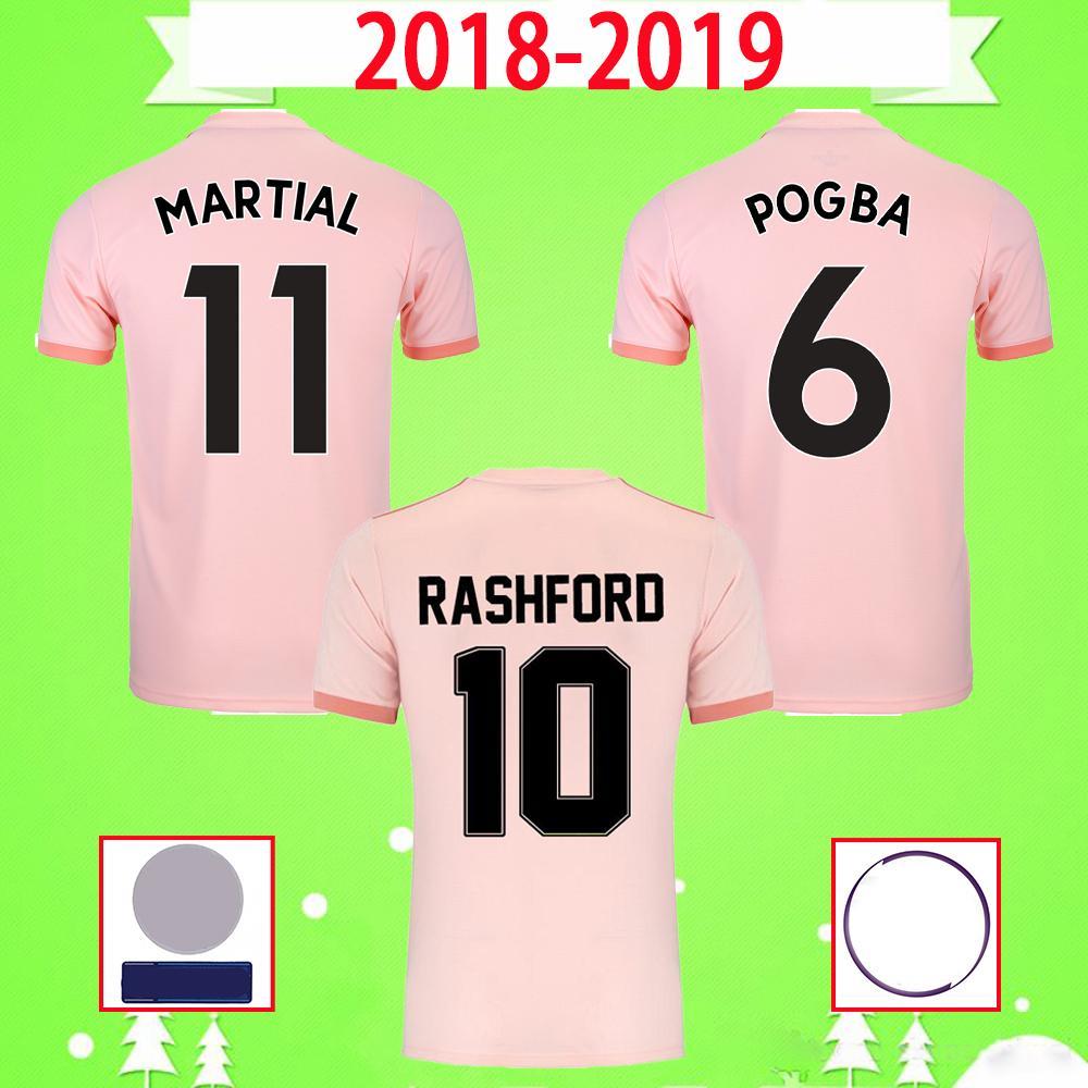 2018 2019 rétro Manchester Alexis Pogba Rashford Jersey de football rose 18 19 United Adulte Homme Vintage Chemise de football classique Uniforme UTD