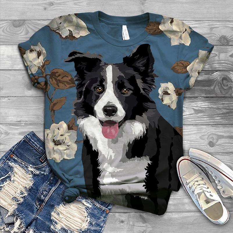 Tamanho do cão camiseta das mulheres Harajuku Mujer T mulheres T Camisa do animal de estimação 3D impresso o pescoço O curtas camisetas tops 2020 camiseta mais VXKGX