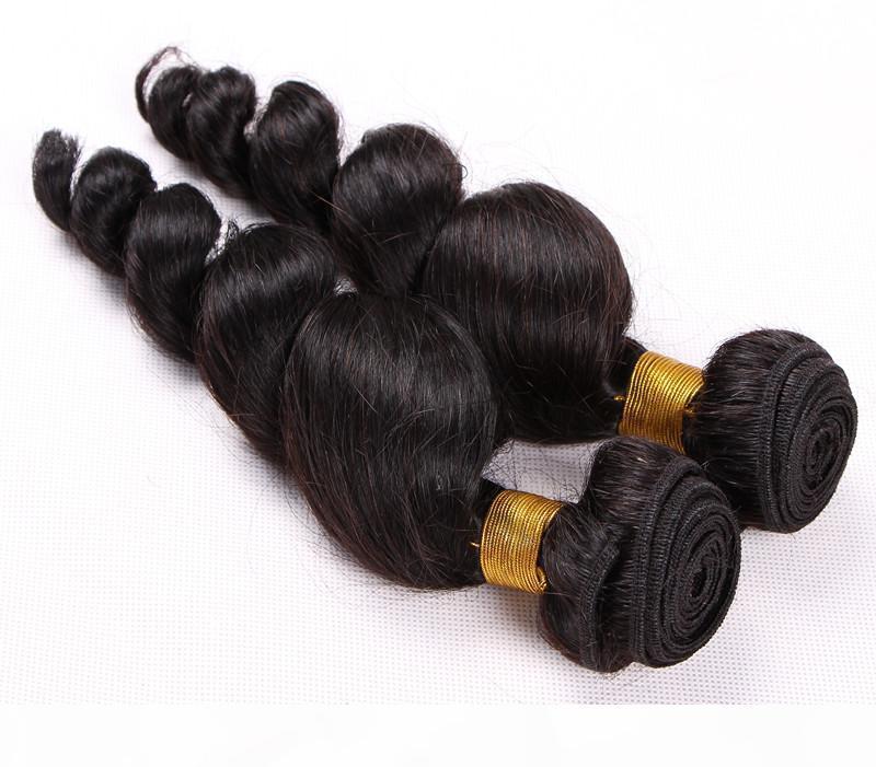 Precio más barato Onda suelta Peruana Paquete de cabello Paquete 3 Paquete Natural Negro Color Remy Hair Extension 100% trama de cabello humano