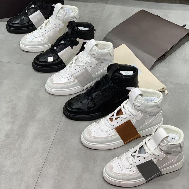الرجال مصمم أحذية VL7N أحذية رياضية العجل منصة المدربين امرأة عالية أعلى أحذية بيضاء فاخرة منخفضة أعلى الدانتيل متابعة الشقق حزب الأحذية 265
