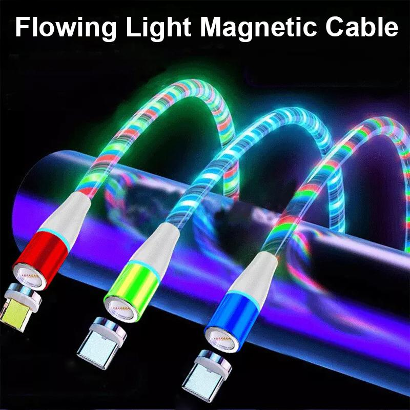Светодиодный течет легкий магнитный зарядный кабель 3 в 1 адаптер USB-линии типа C Микро светящийся быстрая зарядная провод для мобильного телефона