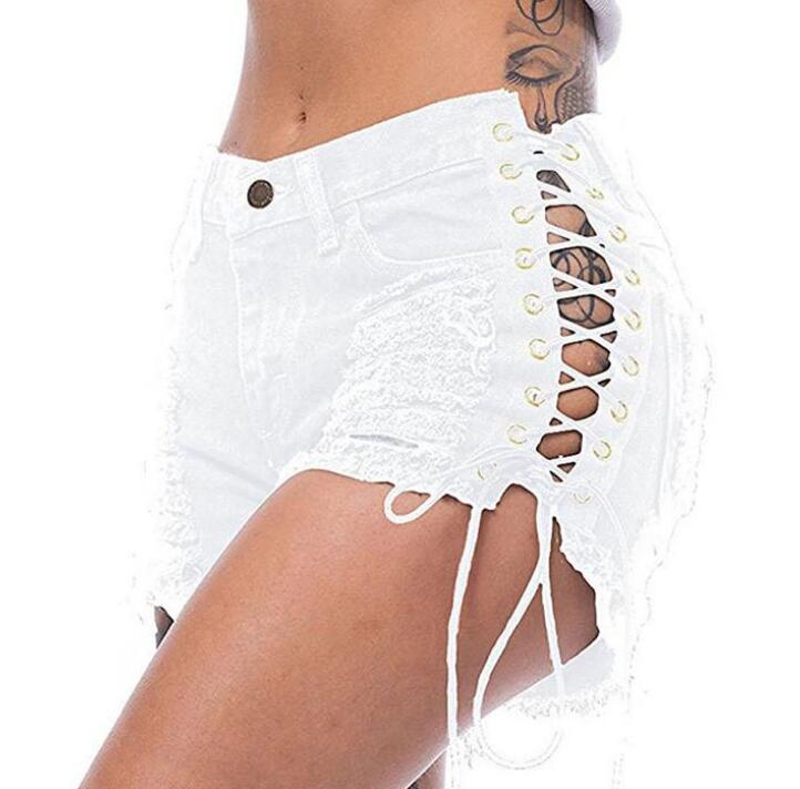 Mode Femmes Jeans Bandage Sexy Chaud Pants Femme Shorts Jeans Casual Femmes Pantalon Couleurs Solides Taille S-3XL