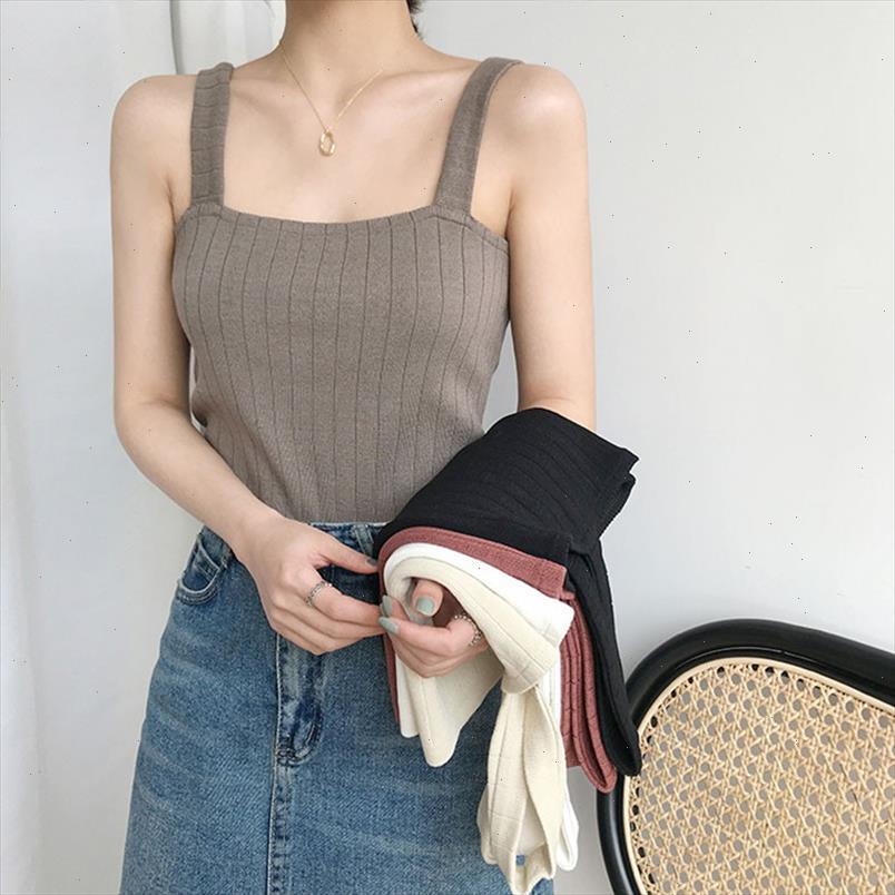 Nova Moda Casual Mulheres Tanque Tops Slim Sexy Tricô Camisole Feminino Vest Bottoming Show Shipping Boa Qualidade