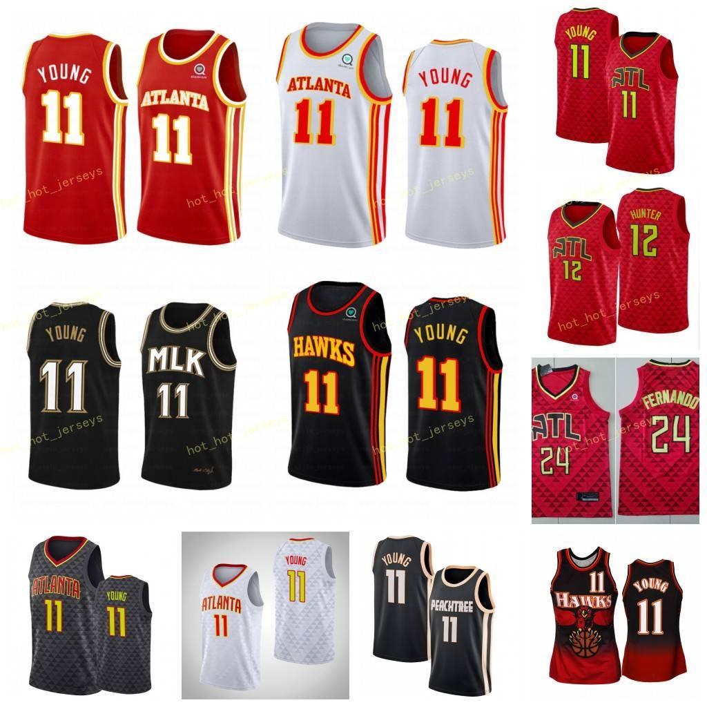 2021 город Atlanta Trae # 11 Молодой баскетбол Джерси де'андра 12 Охотник сшиты 2020 логотипы вышивания