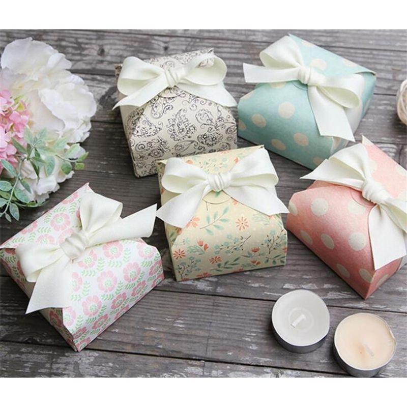 Candy fai da te con nastro favori wedding e regali Box per feste Baby Shower carta cioccolato Scatole Pacchetto