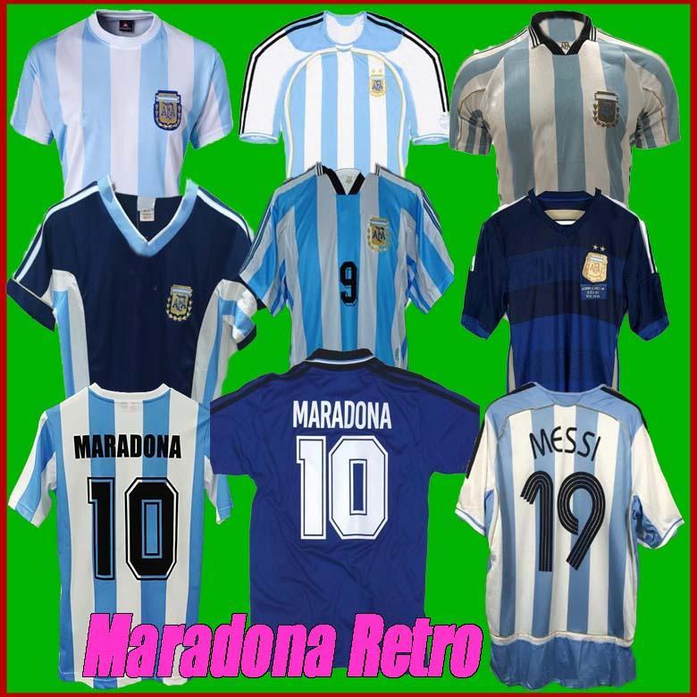 Retro 1986 Arjantin Futbol Jersey Messi Maradona Caniggia 1978 1996 Futbol Gömlek Batistuta 1998 Riquelme 2006 1994 ORTEGA Crespo 2014