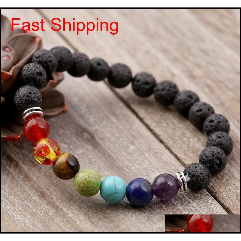 Black Lava вулканический камень 7 чакра браслет, натуральный камень браслет йоги, заживление Reiki молитвенный баланс BUD QYLSLV NANA_SHOP