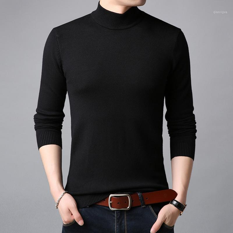 Marca de inverno homens de algodão suéteres pescoço alto espessura camisola quente gola pular pullover mochila masculino quente sólido roupas1