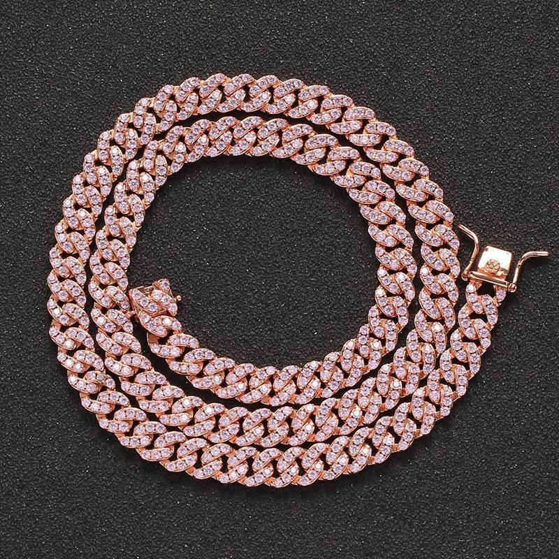 سلاسل 8 ملليمتر واسعة الوردي مكعب زركونيا المعبدة بلينغ oged خارج روز الذهب الكوبي سلسلة المختنقون القلائد للرجال النساء الهيب هوب مغني الراب