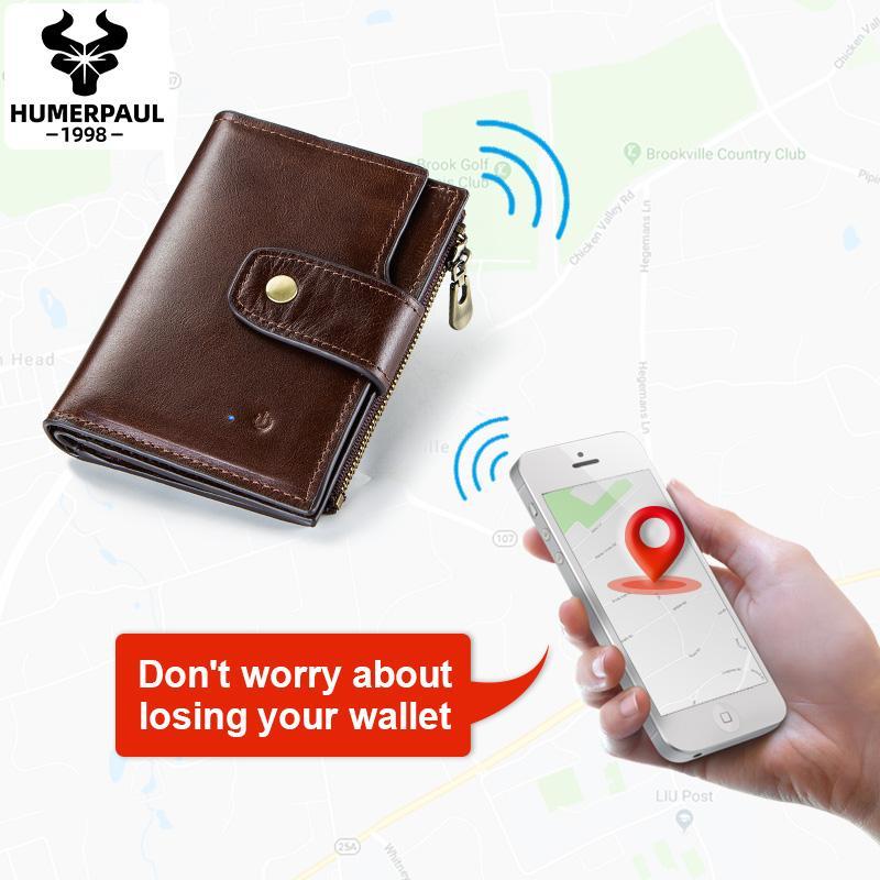 Humberpaul Smart Portafoglio RFID Pelle con allarme mappa GPS Anti Lost Intelligent Bluetooth Alarm Alarm Uomo Borsa Portafogli di alta qualità