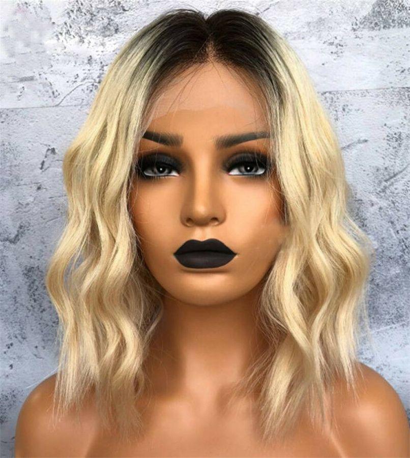 Golden Blonde Ombre Human Hair Bob Wigs Short Wavy Lace Front Wig Wob Virgin Brazilian Hair Full Lace Wig Two Tone #1B/#27