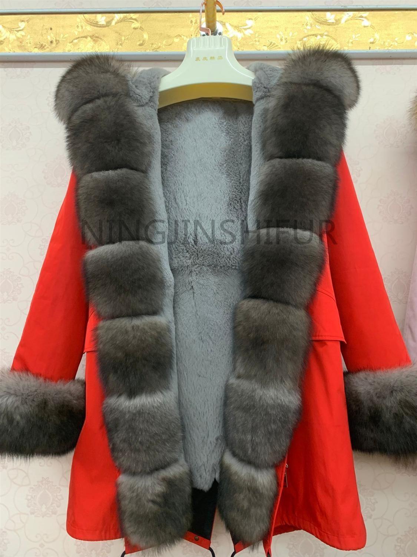 Nueva marca Real Natural Fox Four Piel Chaqueta Parka con cuello grande grande de zorro de zorro y forro de piel de zorro grueso cálido moda impermeable 201103