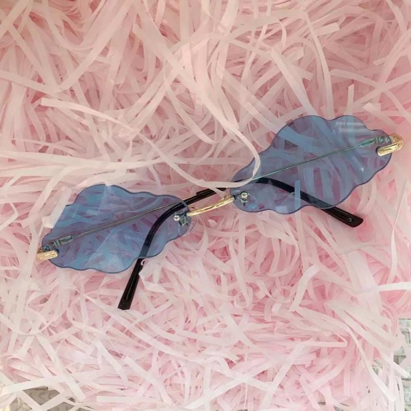 модных моды Безрамное облака Солнцезащитные очки женщины 2020 бренда конфеты цвет линзы солнцезащитные очки женские многоугольник оттенки зеркало мужчин UV400